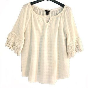Intro Ivory Boho Blouse With Lace Detail Sleeves